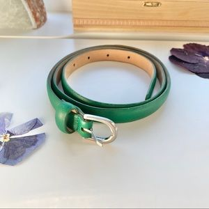 Aritzia Wilfred Green Leather Skinny Belt, sz L